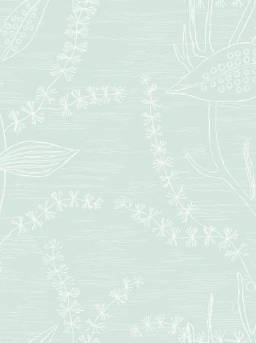 The wallpaper Alger from Engblad & Co. The wallpaper design and pattern is green and consists of Graphic Plants