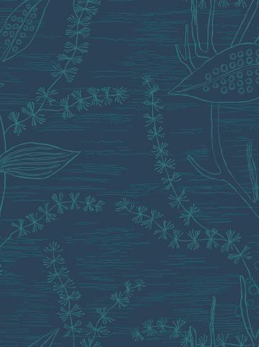 The wallpaper Alger from Engblad & Co. The wallpaper design and pattern is blue and consists of Graphic Plants