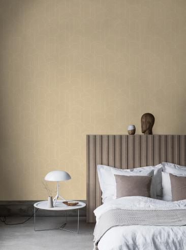 The wallpaper Arch from Engblad & Co. The wallpaper design and pattern is yellow and consists of Geometric Graphic