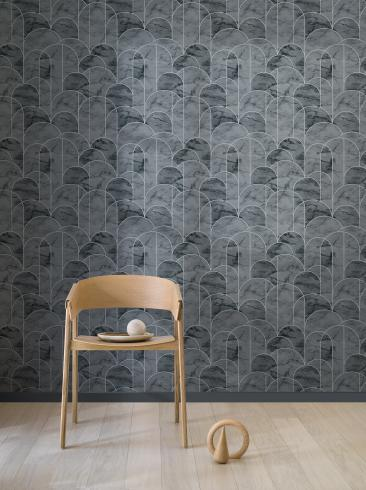 The wallpaper Arch from Engblad & Co. The wallpaper design and pattern is black and consists of Geometric Graphic