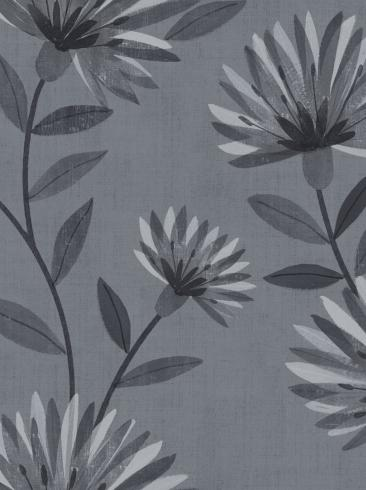 The wallpaper Bessie from Boråstapeter. The wallpaper design and pattern is blue and consists of Floral Graphic Sketched