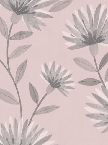 The wallpaper Bessie from Boråstapeter. The wallpaper design and pattern is pink and consists of Floral Graphic Sketched