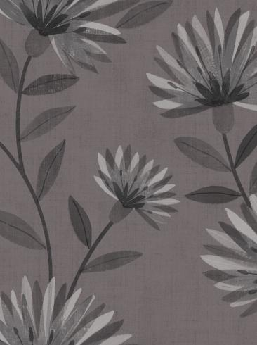 The wallpaper Bessie from Boråstapeter. The wallpaper design and pattern is grey and consists of Floral Graphic Sketched