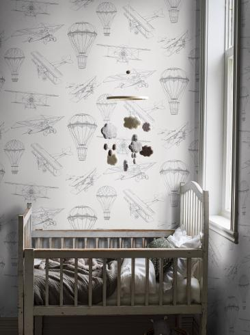 The wallpaper Bon Voyage from Boråstapeter. The wallpaper design and pattern is white and consists of Children's Playful & Imaginative Structure Textile