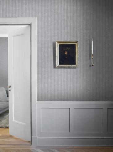 The wallpaper Botanical Stripe from Boråstapeter. The wallpaper design and pattern is grey and consists of Foliage Stripe