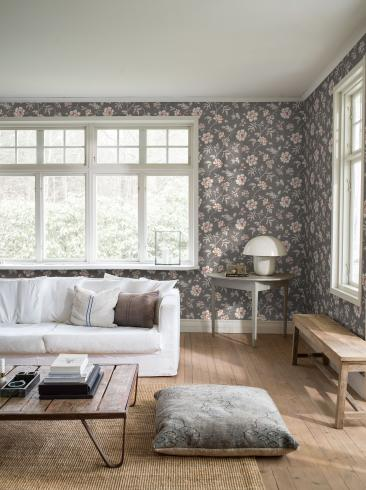 The wallpaper Camille from Boråstapeter. The wallpaper design and pattern is brown and consists of Floral