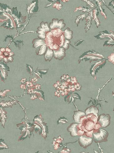 The wallpaper Camille from Boråstapeter. The wallpaper design and pattern is green and consists of Floral