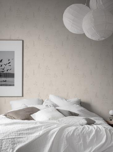The wallpaper Chalk Straw from Boråstapeter. The wallpaper design and pattern is neutrals and consists of Plants Sketched