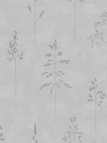 The wallpaper Chalk Straw from Boråstapeter. The wallpaper design and pattern is grey and consists of Plants Sketched