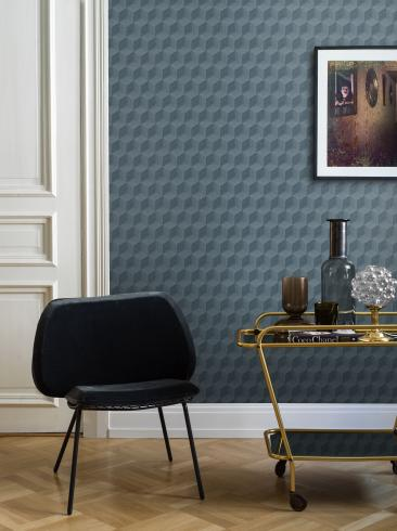 The wallpaper Claremont from Engblad & Co. The wallpaper design and pattern is blue and consists of Single Colour