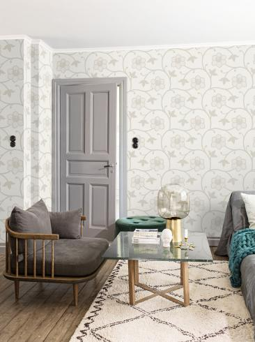 The wallpaper Clematis from Engblad & Co. The wallpaper design and pattern is neutrals and consists of Floral Graphic