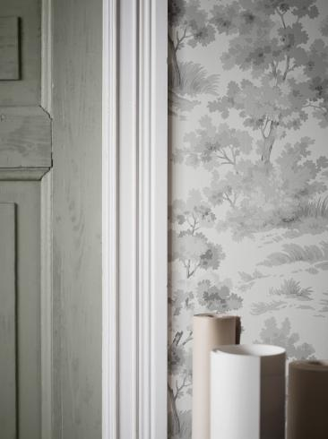 The wallpaper Countryside Morning from Boråstapeter. The wallpaper design and pattern is grey and consists of Animals Forest Sketched Traditional