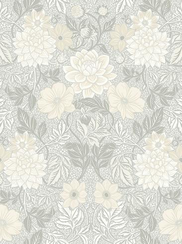 The wallpaper Dahlia Garden from Boråstapeter. The wallpaper design and pattern is grey and consists of Floral Foliage