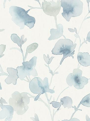The wallpaper Dawn from Boråstapeter. The wallpaper design and pattern is blue and consists of Floral Graphic