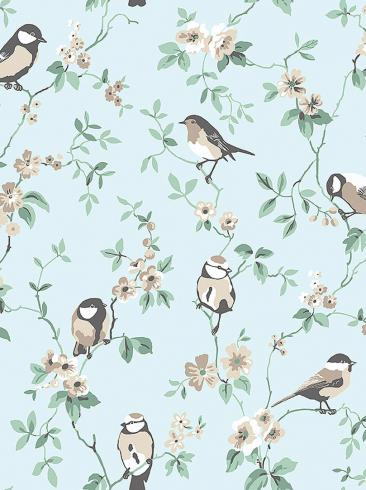 The wallpaper Falsterbo Birds from Boråstapeter. The wallpaper design and pattern is blue and consists of Birds Floral