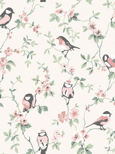 The wallpaper Falsterbo Birds from Boråstapeter. The wallpaper design and pattern is neutrals and consists of Birds Floral