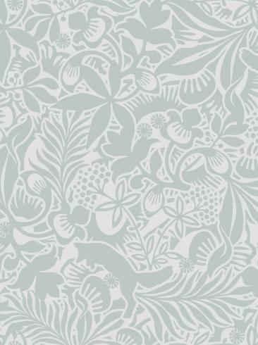 The wallpaper Fantasia from Boråstapeter. The wallpaper design and pattern is green and consists of Playful & Imaginative