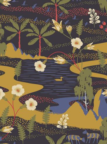 The wallpaper Flyttfrö from Boråstapeter. The wallpaper design and pattern is multi and consists of Playful & Imaginative