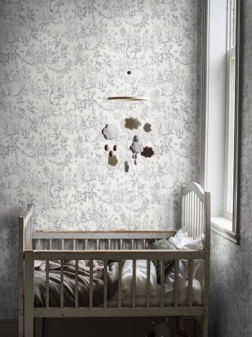 The wallpaper Forest Friends from Boråstapeter. The wallpaper design and pattern is white and consists of Animals Children's Playful & Imaginative