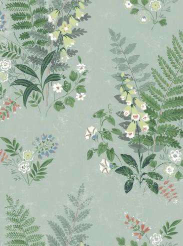 The wallpaper Foxglove from Boråstapeter. The wallpaper design and pattern is green and consists of Floral