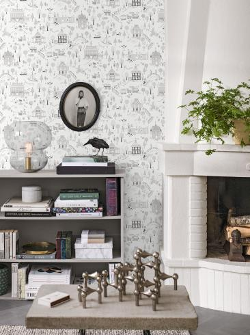 The wallpaper Gårda from Engblad & Co. The wallpaper design and pattern is grey and consists of Children's Sketched