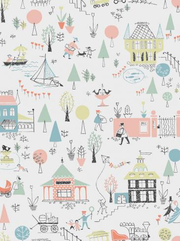 The wallpaper Gårda from Engblad & Co. The wallpaper design and pattern is multi and consists of Children's Sketched