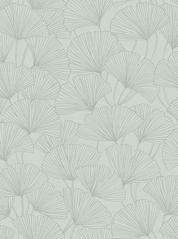 The wallpaper Ginkgo from Boråstapeter. The wallpaper design and pattern is green and consists of Foliage