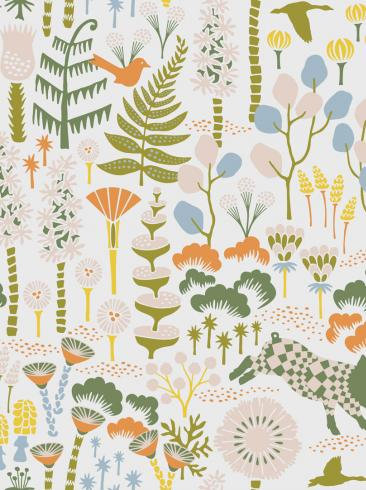 The wallpaper Hoppmosse from Boråstapeter. The wallpaper design and pattern is multi and consists of Playful & Imaginative