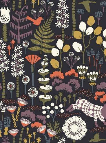 The wallpaper Hoppmosse from Boråstapeter. The wallpaper design and pattern is black and consists of Playful & Imaginative