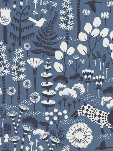 The wallpaper Hoppmosse from Boråstapeter. The wallpaper design and pattern is blue and consists of Playful & Imaginative
