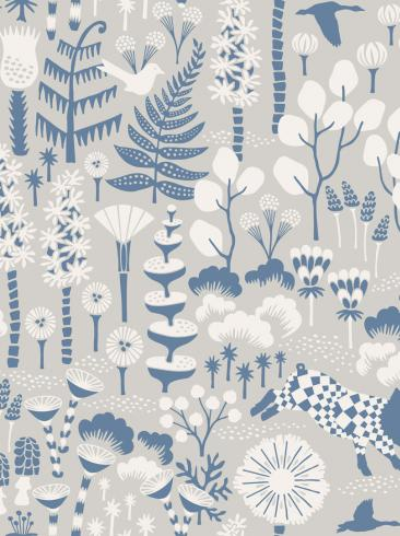 The wallpaper Hoppmosse from Boråstapeter. The wallpaper design and pattern is grey and consists of Playful & Imaginative