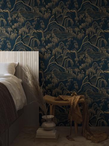 The wallpaper Indigo Garden from Boråstapeter. The wallpaper design and pattern is blue and consists of Forest Playful & Imaginative Tree