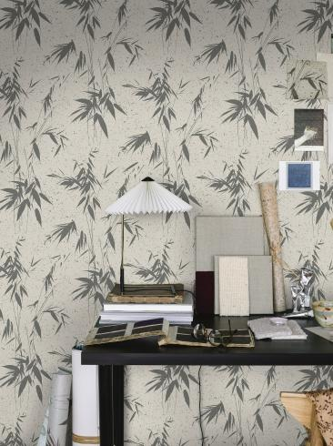 The wallpaper Ink Bamboo from Boråstapeter. The wallpaper design and pattern is grey and consists of Foliage