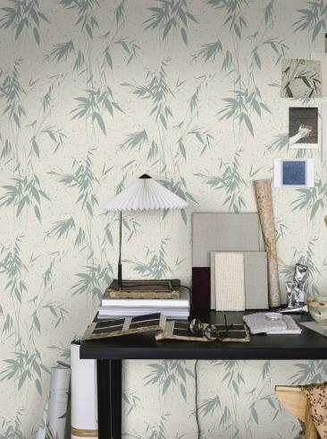 The wallpaper Ink Bamboo from Boråstapeter. The wallpaper design and pattern is turquoise and consists of Foliage