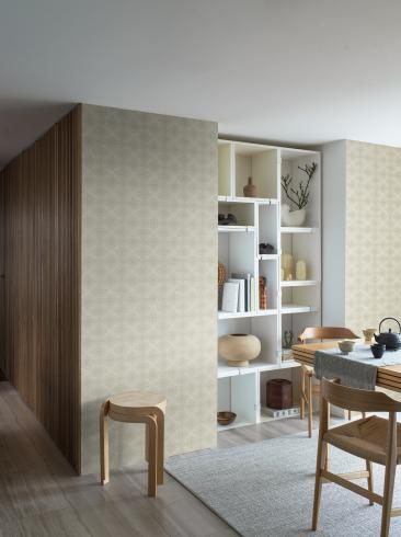 The wallpaper Kimono from Boråstapeter. The wallpaper design and pattern is green and consists of Checked Trellis