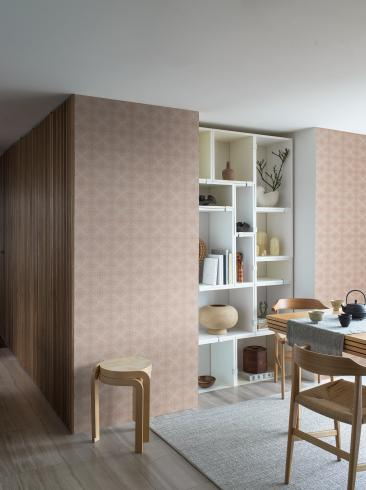 The wallpaper Kimono from Boråstapeter. The wallpaper design and pattern is neutrals and consists of Checked Trellis