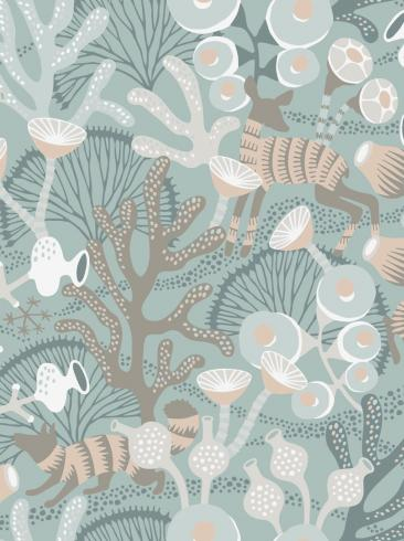 The wallpaper Koralläng from Boråstapeter. The wallpaper design and pattern is green and consists of Playful & Imaginative