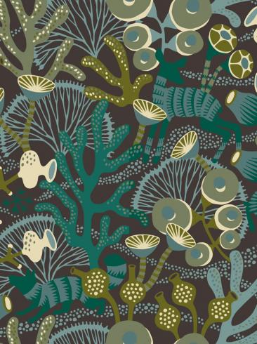 The wallpaper Koralläng from Boråstapeter. The wallpaper design and pattern is black and consists of Playful & Imaginative