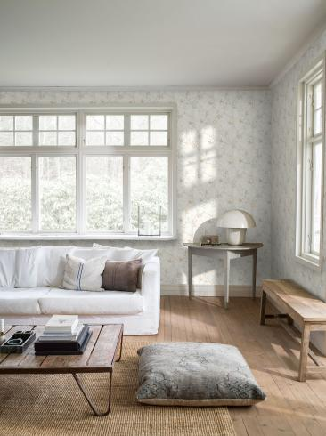 The wallpaper Lily Tree from Boråstapeter. The wallpaper design and pattern is white and consists of Floral