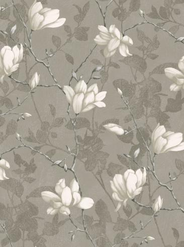 The wallpaper Lily Tree from Boråstapeter. The wallpaper design and pattern is grey and consists of Floral