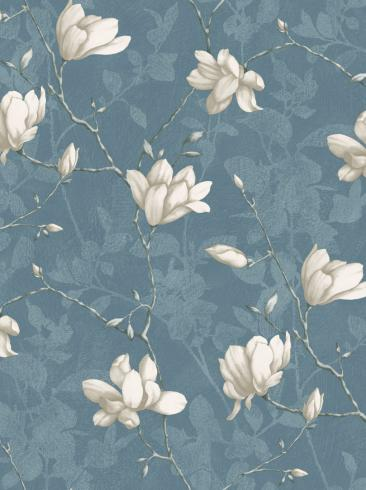The wallpaper Lily Tree from Boråstapeter. The wallpaper design and pattern is blue and consists of Floral