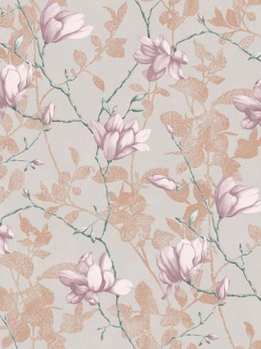 The wallpaper Lily Tree from Boråstapeter. The wallpaper design and pattern is pink and consists of Floral