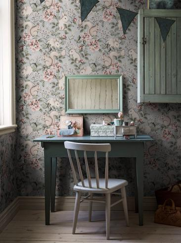The wallpaper Magic Forest from Boråstapeter. The wallpaper design and pattern is blue and consists of Animals Children's Floral Playful & Imaginative