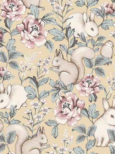 The wallpaper Magic Forest from Boråstapeter. The wallpaper design and pattern is yellow and consists of Animals Children's Floral Playful & Imaginative