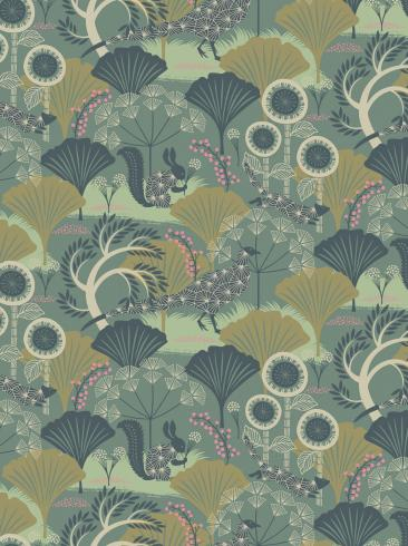 The wallpaper Mårdgömma from Boråstapeter. The wallpaper design and pattern is green and consists of Playful & Imaginative