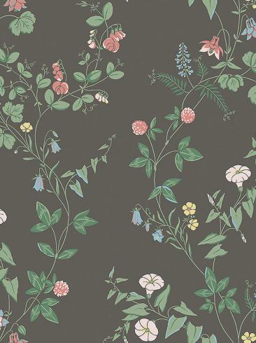 The wallpaper Midsummer Eve from Boråstapeter. The wallpaper design and pattern is black and consists of Floral Traditional