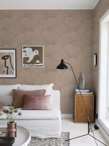 The wallpaper Mirage from Boråstapeter. The wallpaper design and pattern is pink and consists of Graphic Limestone