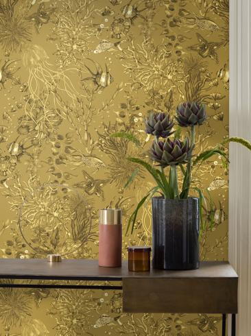 The wallpaper Miramar from Engblad & Co. The wallpaper design and pattern is yellow and consists of Animals