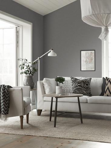 The wallpaper Mood from Boråstapeter. The wallpaper design and pattern is grey and consists of Single Colour Structure Textile