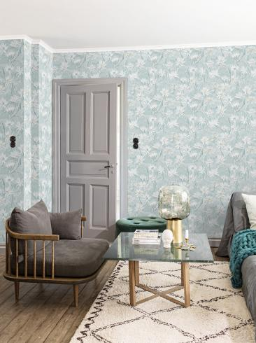 The wallpaper Näckros from Engblad & Co. The wallpaper design and pattern is turquoise and consists of Floral Traditional